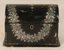 A mother-of-pearl inlaid Victorian papier mache tea caddy