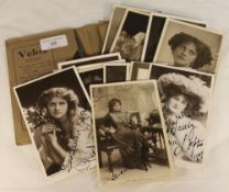 A quantity of early 20th century postcards of actresses,