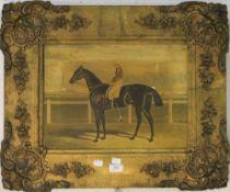 A gilt framed print of horse with jockey up