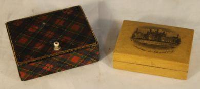A tartan ware snuff box and a mauchline ware snuff box