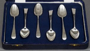 A set of six George III silver teaspoons, hallmarked London 1805 and 1811,