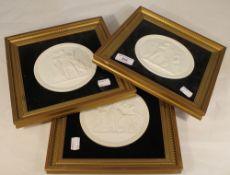 Three Copenhagen framed circular plaques