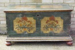 A 19th century Continental painted pine trunk