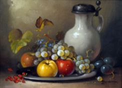 A. MUNDING (20th century), Still Life of Fruit, Oil on canvas, Signed. 39.5 x 29.