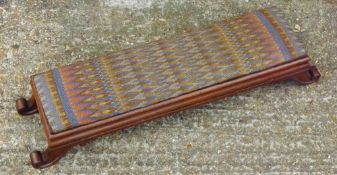 A Regency tapestry topped rosewood foot stool
