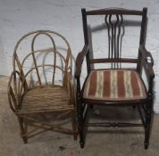 An Edwardian line inlay child's armchair and a bamboo child's chair