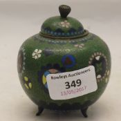 A small Chinese cloisonne censor