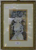 A busty lady, gouache,