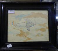 A 1930s watercolour of a Hawker Bi-Plane