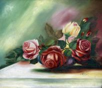 C.W. BRIDGE (20th century), Still Life of Roses, Oil on board, Signed and dated 1924.