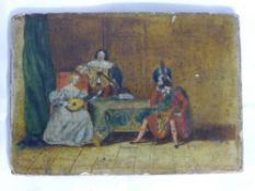 A small 19th century oil painting depicting courtly figures,