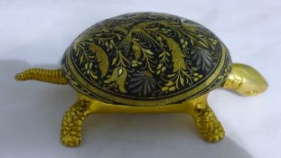 A Toledo ware desk bell formed as a tortoise