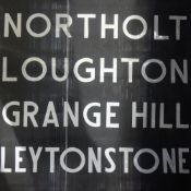 An Underground 1960s destination roll poster: NORTHOLT, LOUGHTON, GRANGE HILL,