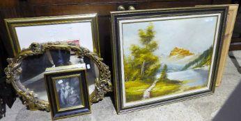 A gilt framed mirror,
