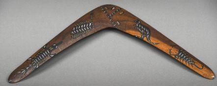 A painted boomerang