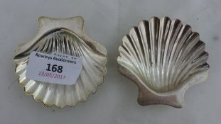 A pair of silver shell salts