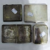 Four silver cigarette cases