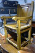 An oak panel back chair