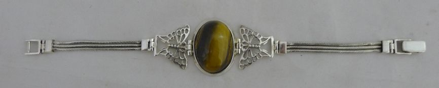 A tigers eye and silver bracelet