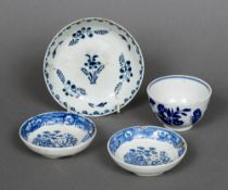 An 18th century Worcester blue and white tea bowl, transfer printed with flowers,