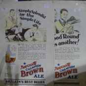 Two tin advertising signs for Newcastle Brown Ale