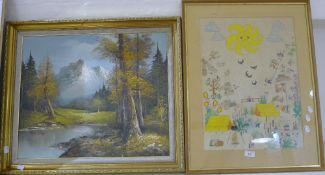 A nursery watercolour together with an oil on canvas landscape