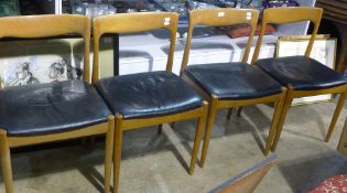 Four mid 20th century dining chairs