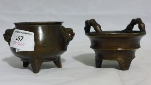 Two small Chinese bronze censors