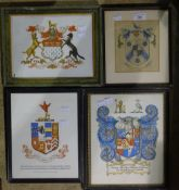 Four printed armorials