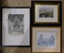 ARTHUR MORELAND, The Old Hall Lincoln's Inn, etching, Borrowdale print,