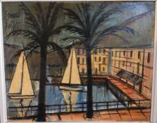 After BERNARD BUFFET (1928-1999) French, Port of Beaulieu, Oil on board, Bears signature. 49.