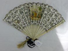 A 19th century French bone guard fan