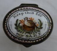 A 19th century enamel patchbox,