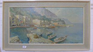 A mid 20th century oil on canvas, Mediterranean scene,