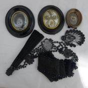 A quantity of mourning jewellery etc