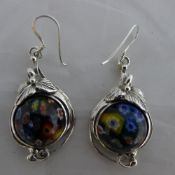 A pair of silver and millefiori glass earrings