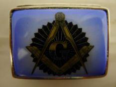 A masonic silver pill box