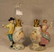 Two porcelain oil lamps