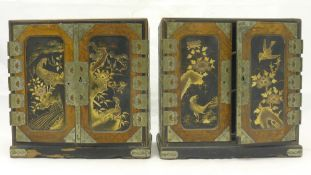 A pair of late 19th/early 20th century Japanese miniature lacquered cabinets