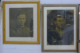 Two framed and glazed oils on canvas, one a soldier,