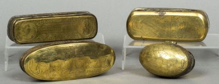 An 18th/19th century Dutch brass and copper tobacco box Of spherical form with hinged lid;