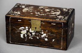 A 19th century mother-of-pearl inlaid Chinese box, possibly hongmu wood Of hinged rectangular form,