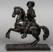 A 19th century patinated bronze figure Modelled as a cavalier astride his rearing mount.