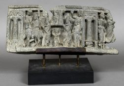 An antique carved stone frieze section, possibly Gandara Formed as a figural procession,