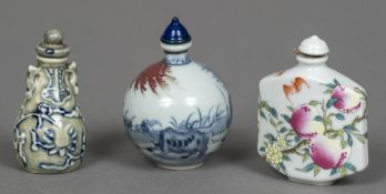A Chinese porcelain snuff bottle Of squat ovoid form,