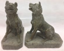 A pair of 19th century Italian stone, possibly serpentine, dogs of Alcibiades,