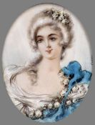 CONTINENTAL SCHOOL (19th/20th century) Portrait Miniature of a Young Lady Watercolour on