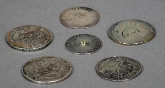 A collection of six various antique Continental silver coins Various dates and sizes.