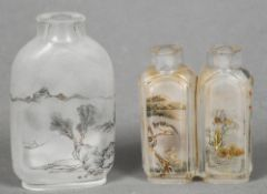 A Chinese inside painted glass twin snuff bottle,