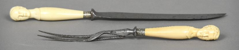 A Victorian ivory mounted carving set The handle finials worked as busts of Victoria and Prince